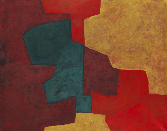 Poliakoff - Composition abstraite orange, jaune, vert, lie de vin
