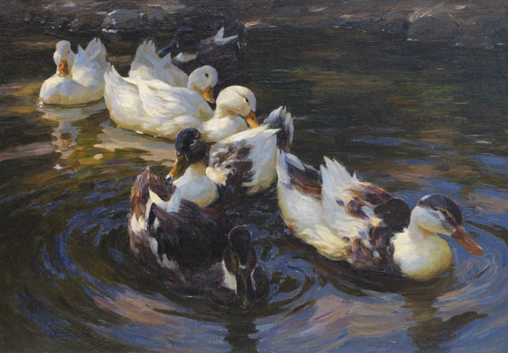 Alexander Koester - Enten in Morgensonne (Enten in blauem Wasser)